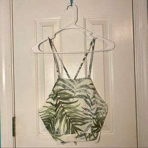 Green & white leaf patterned cropped blouse